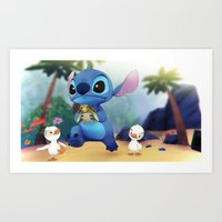 stitch Art Prints featuring Stitch by beastace