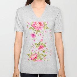 pink floral pattern Unisex V-Neck