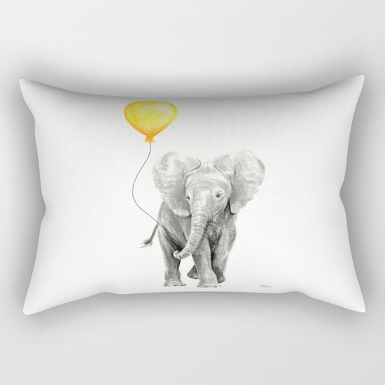 Elephant Watercolor Yellow Balloon Whimsical Baby Animals Rectangular Pillow