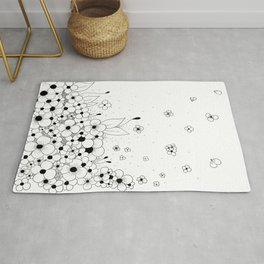 Flowers on the Floor Ink Art Rug