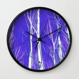 White Trees Intense Blue Sky In February Wall Clock