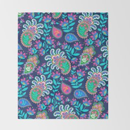 Pretty Bohemian Paisley Navy Green Turquoise and Pink Throw Blanket