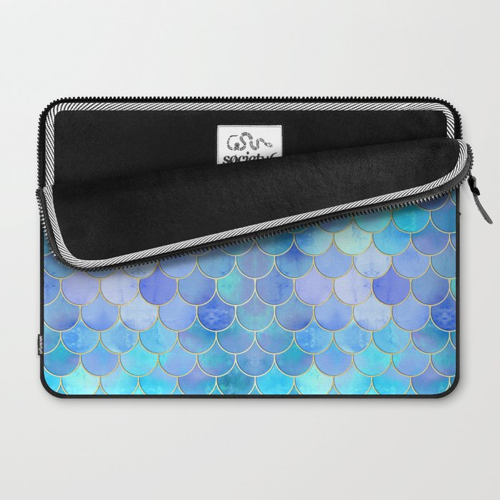 Aqua Pearlescent & Gold Mermaid Scale Pattern Laptop Sleeve