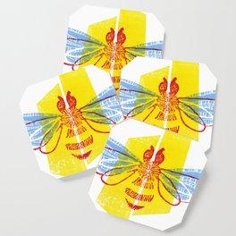 Be Safe - Save Bees linocut Coaster