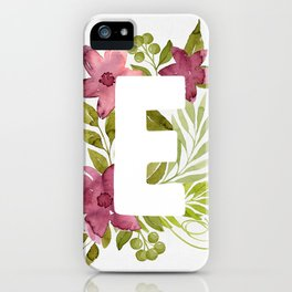 Monogram E with red waercolor flowers and green leaves. Floral letter E. Botanical illustration. iPhone Case