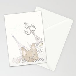 French Bulldog Photobomb in Paris with Eiffel Tower Stationery Cards