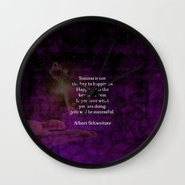 Happiness Is The Key To Success Uplifting Inspirational Quote Wall Clock