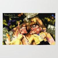 ellie goulding Area & Throw Rugs featuring CARL & ELLIE by DisPrints