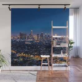 Los Angeles, California, I love LA Downtown Skyline, Golden lights, USA Sunset Blvd, Palms, Cali Map Wall Mural