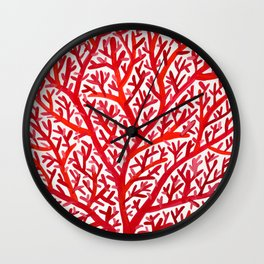 Red Fan Coral Wall Clock