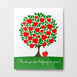 Teacher apple tree, teacher appreciation gift, teacher tree, End of year Metal Print