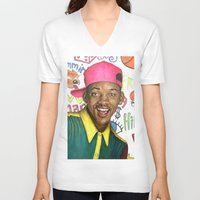 fresh prince V-neck T-shirts featuring Fresh Prince of Bel Air - Will Smith by Heather Buchanan