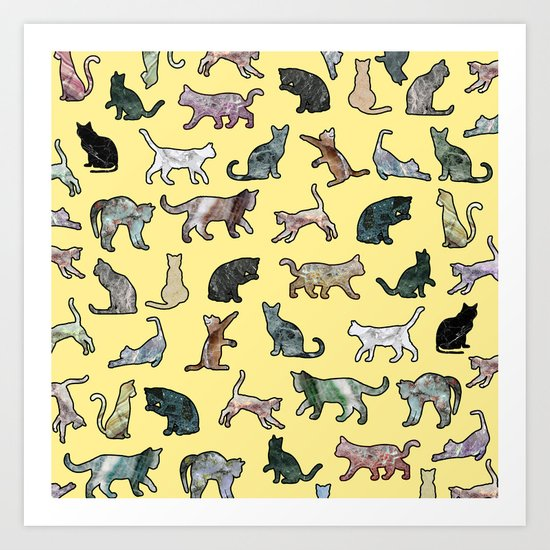 Cats shaped Marble - Sun Yellow Art Print
