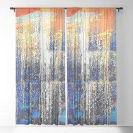 Golden Dawn, Abstract Landscape Art Sheer Curtain