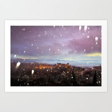 Snowing in the Alhambra, Granada, Spain at sunset Art Print