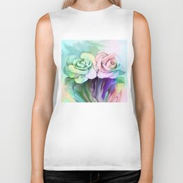 Two Painterly Roses By Annie Zeno  Biker Tank