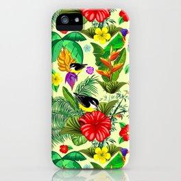Birds and Nature Floral Exotic Seamless Pattern iPhone Case