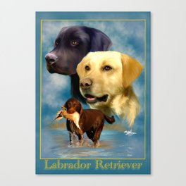 Labrador Retriever Breed Art with Namplate Canvas Print