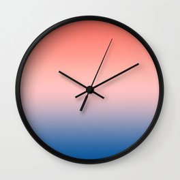 Living Coral Millennial Pink Princess Blue Ombre Pattern Trendy Colors of Year 2019 Wall Clock