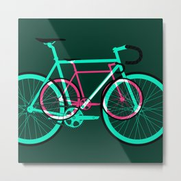 Fixed Gear Road Bikes – Green and Pink Metal Print