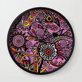 Flores Rosas Wall Clock