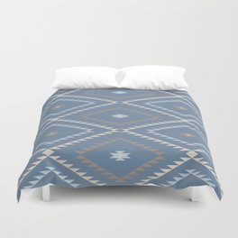 Navajo Pattern - Denim / Nude Duvet Cover