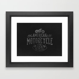 American Motorcycle Rider Black Framed Art Print