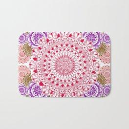 Red, Brown, and Purple Mandala Pattern Bath Mat