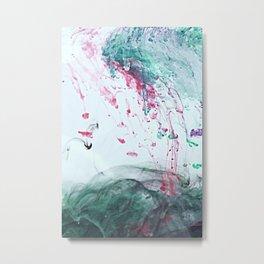 Raspberry Ocean Ink Fluid Metal Print