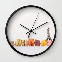 Paris, macarons and the eiffel tower Wall Clock