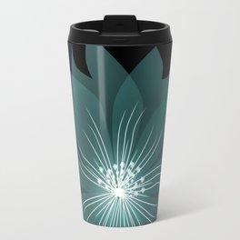 Blue flower on a black background . Travel Mug