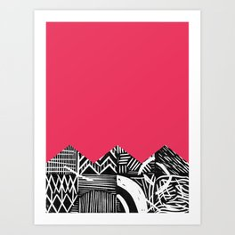 Rose lino bright Art Print