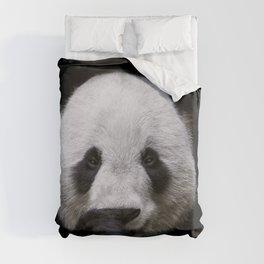 Cute panda bear portrait  Duvet Cover