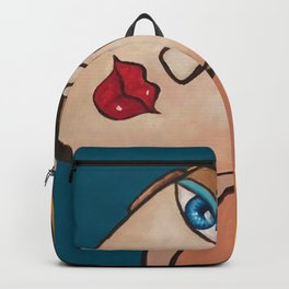 Portrait of a Blonde Woman Backpack