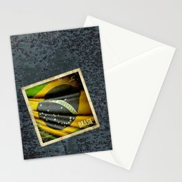 Sticker of Brazil flag Stationery Cards