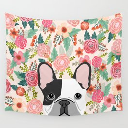 French Bulldog  floral dog head cute frenchies must have pure breed dog gifts Wall Tapestry