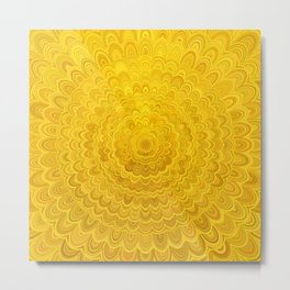 Golden Flower Mandala Metal Print