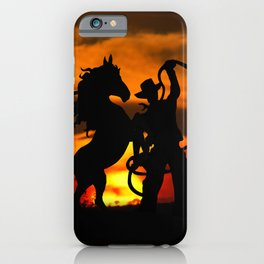 Cowboy at sunset iPhone Case