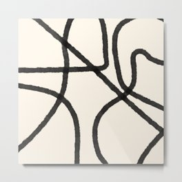 Thick Continuous Line Series 8 | Boho Home Decor, Modern Wall Art, Continuous Line Art, Contour Line Metal Print