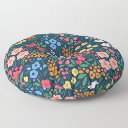 Vintage floral background. Flowers pattern with small colorful flowers on a dark blue background.  Floor Pillow