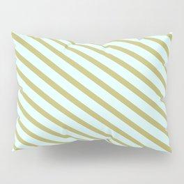 Dark Khaki & Light Cyan Colored Lines/Stripes Pattern Pillow Sham