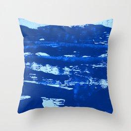 Shoreline:  minimal, abstract painting in blues by Alyssa Hamilton Art Throw Pillow