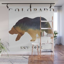 Watercolor Bear Colorado Established 1876 Wall Mural