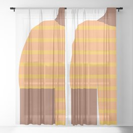 Yellow & Black T-Shirt Sheer Curtain