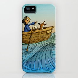 Fox and Girl Go Sailing iPhone Case