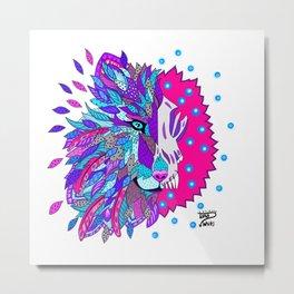 Wolf with Feathers Spirit Animal Pop Art Print Bold Metal Print