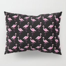 Pink Flamingos Pattern & Black Pillow Sham