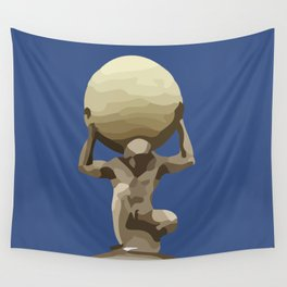 Man with Big Ball Illustration dark blue Wall Tapestry