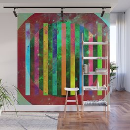Galactic Stripes - Abstract, geometric, space themed artwork Wall Mural