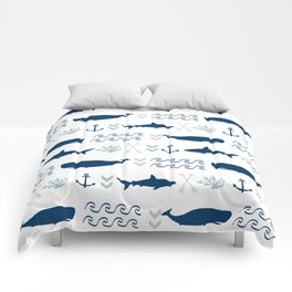 nautical whales sharks and anchors in navy grey white kids nursery boys girls decor Comforters
